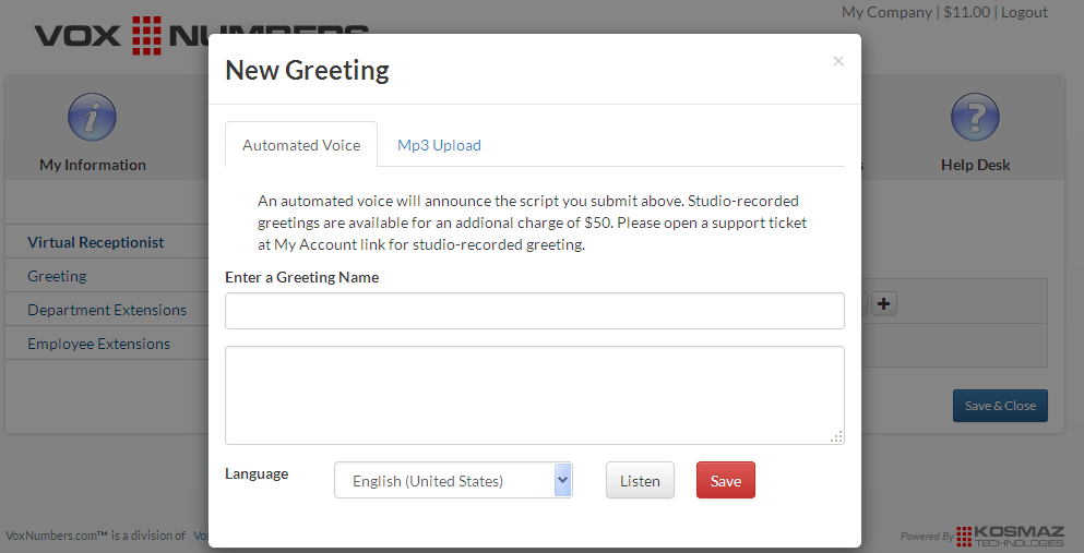 Virtual number changing greetings you can edit the main greeting or add new greeting by uploading an mp3 file youve already recorded or you can write a script and an automated voice will m4hsunfo