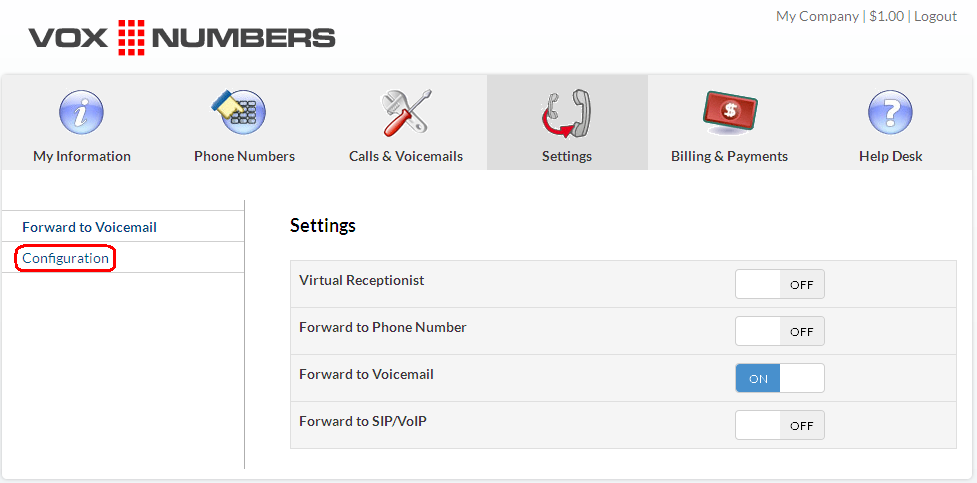 Virtual number configuration next to voxnumbers default voicemail and then you can change your voicemail greeting by uploading an mp3 file youve already recorded or you can write a m4hsunfo